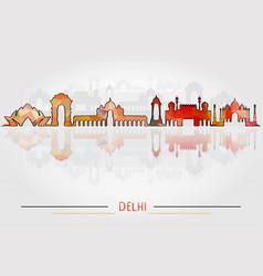 delhi city silhouette with city silhouette design vector image vector image