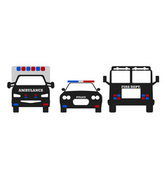 fire car ambulance and police car vector image vector image
