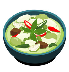 green chicken curry popular thai food vector image