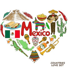 Mexican symbols in heart shape concept vector image vector image