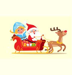 santa riding on sleigh poster vector image