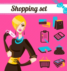 Shopping set infographics of fashion women vector image vector image