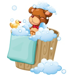 A bear taking a bath vector image vector image