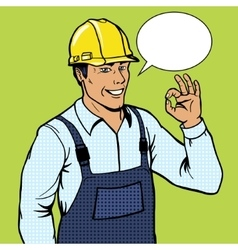 Builder man shows ok sign pop art style vector image