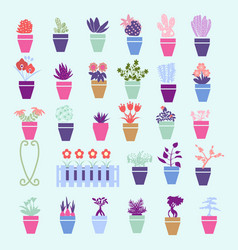 collection colorful silhouette of garden house vector image vector image