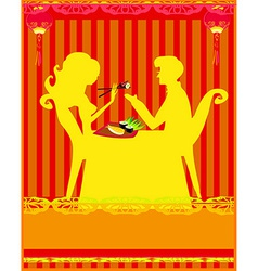 Couple Enjoying Sushi In Restaurant vector image vector image