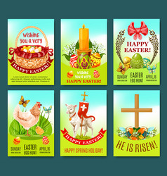 easter spring holiday greeting card or poster set vector image vector image
