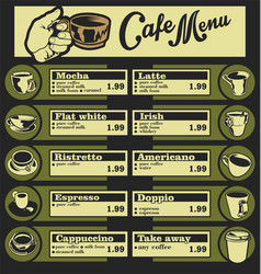 Set of coffee menu with a cups of coffee drinks 3 vector