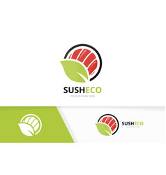 Sushi and leaf logo combination japanese vector