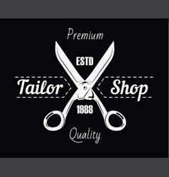 tailor shop salon scissors and sewing stitch vector image vector image