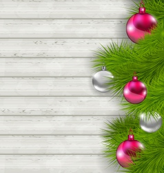 Christmas composition with glass hanging balls and vector image