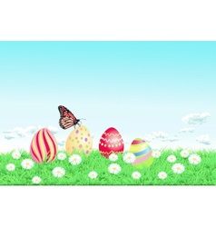 Easter background with decorated Easter eggs vector image