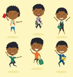 happy african american school boys jumping outdoor vector image vector image
