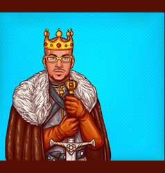 man in costume of king of the north pop art vector image vector image