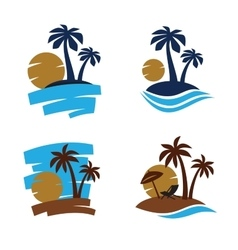 Palm trees silhouette vector image vector image