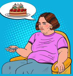 pop art fat woman watching tv with remote vector image