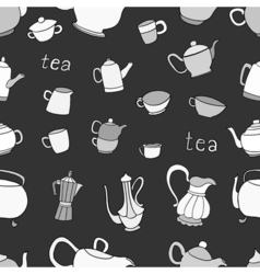 Seamless pattern of tea and coffee objects vector image vector image