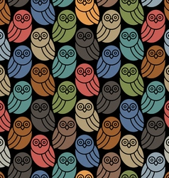 Seamless pattern with owls in retro colors on vector image
