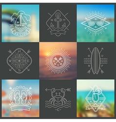 Summer holidays vacation and travel emblems vector image