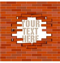 Broken white brick wall with flying bricks vector image