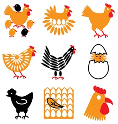 logo icons chicken vector image vector image