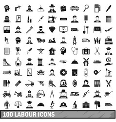 100 labour icons set simple style vector