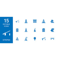 15 striped icons vector