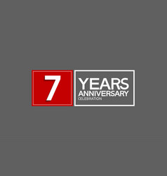 7 years anniversary in square with white and red vector