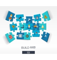 Abstract build background with connected color vector image