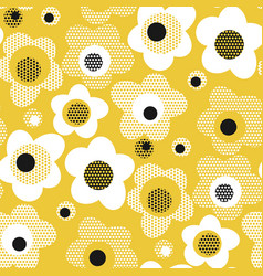 abstract geometric yellow floral seamless pattern vector image