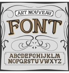 Art nouveau label font on a dark backround vector