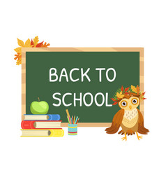 back to school banner template with cute wise owl vector image