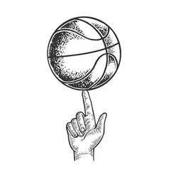 Basketball spinning on finger engraving vector