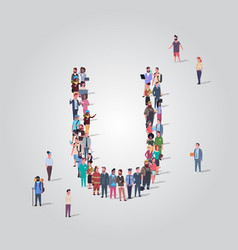 Big people crowd gathering in shape letter u vector