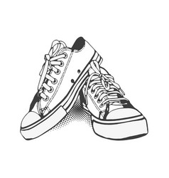 Black and white sneakers on isolated white vector