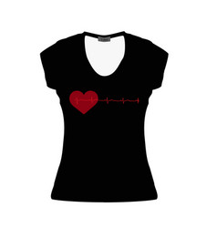 black women t-shirt with a red heart and vector image