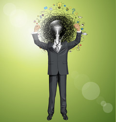 Businessman with hands up vector
