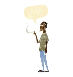Cartoon annoyed smoker with speech bubble vector