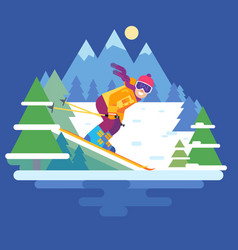 cartoon skier in the mountains vector image