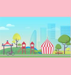 children playground in big city cartoon flat vector image