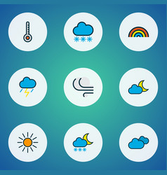 Climate icons colored line set with freeze vector