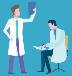 Clinic service online doctor researching vector