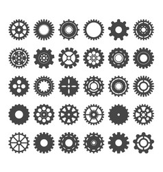 cogwheels varieties set gear industrial vector image