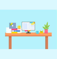 computer screen on desk full of paper documents vector image