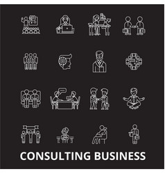 consulting business editable line icons set vector image