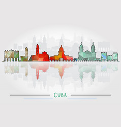 cuba city silhouette with city silhouette design vector image