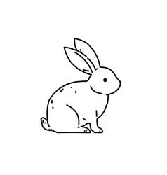 Cute bunny rabbit line art drawing vector