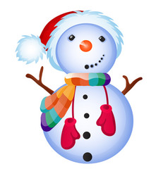 cute snowman smiles isolated on a white background vector image