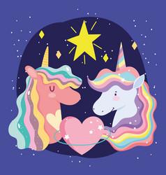 cute unicorns portrait rainbow mane heart and star vector image