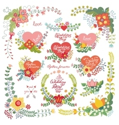 Cute vintage floral set with heartsLove decor vector image